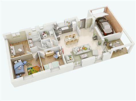 plan maison plein pied 4 chambres modèle joanie mikit