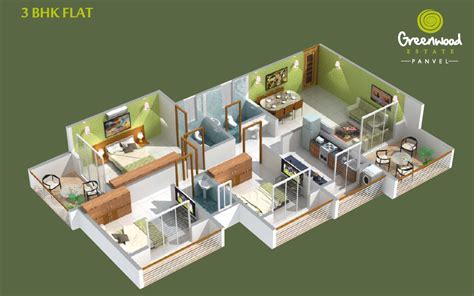 3 bhk flat by sarita floor plans greenwood estate