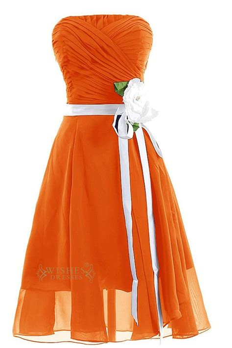 orange chiffon strapless gown  ruched bodice  side