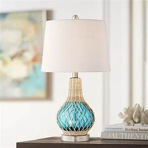 360, Lighting, Coastal, Accent, Table, Lamp, With, Nightlight, Led, Rope, Blue, Glass, Gourd, White, Fabric