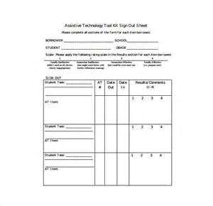 Free Sign Out Sheet Template