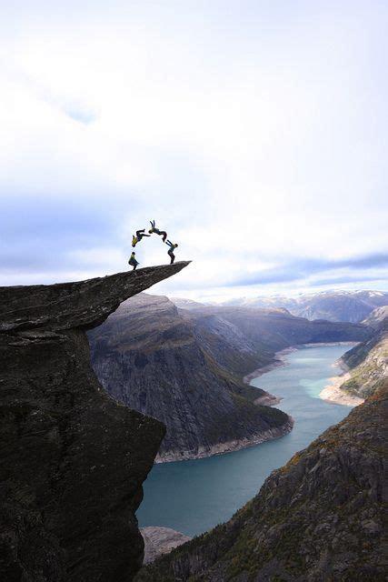 Jumping On Trolltunga Rock Norway On The Edge Pinterest