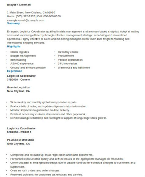 Logistics Coordinator Resume by Sle Logistics Resume 9 Exles In Word Pdf
