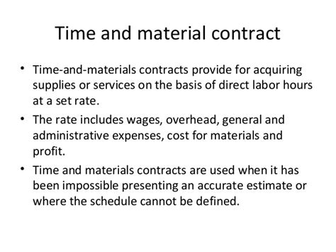 time and materials contract procurement plan details