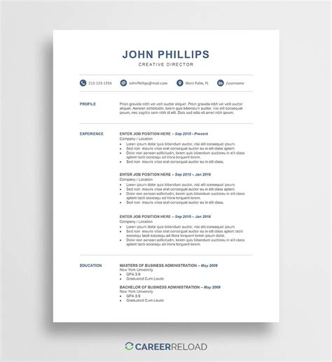 resume templates  resources  job