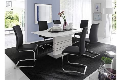 table salle  manger design blanche acier brosse pour