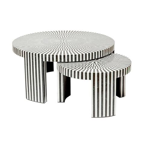 The marble tabletop and metal legs give a fashion flair to the practical set of 2. B&W Marble Nesting Tables - Black Rooster Decor | Nesting coffee tables, Coffee table, Nesting ...
