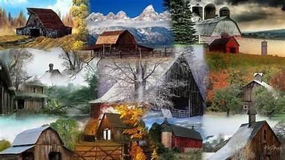 Collage Barn Barns Wallpapers Winter Farm Autumn