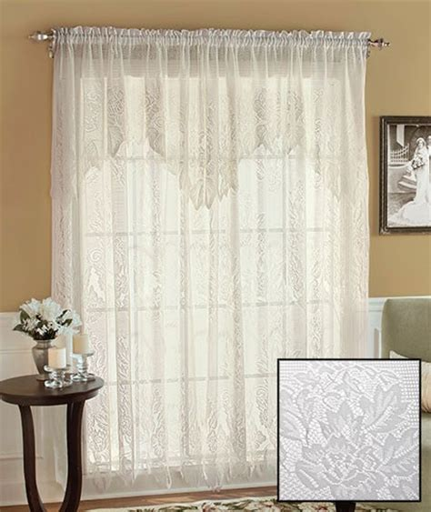 White Priscilla Curtains With Attached Valance by Lace Curtains Deals On 1001 Blocks