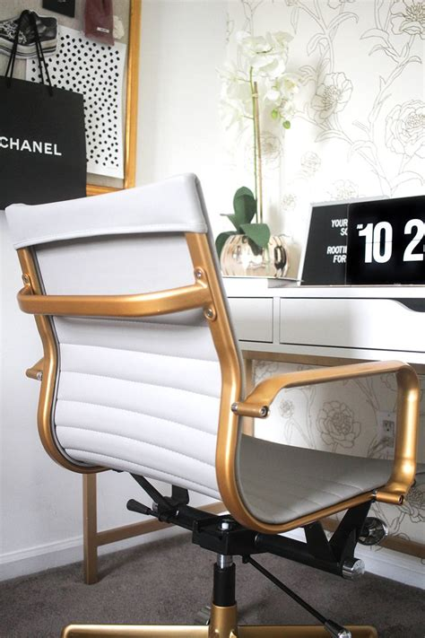white and gold office chair modern chairs quality
