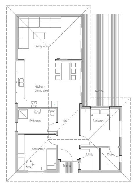 Small House Plan to narrow lot with two bedrooms, open
