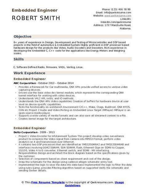 embedded engineer resume samples qwikresume