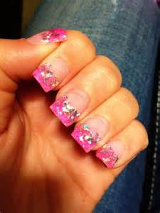 Hot Pink and Silver Glitter Nails