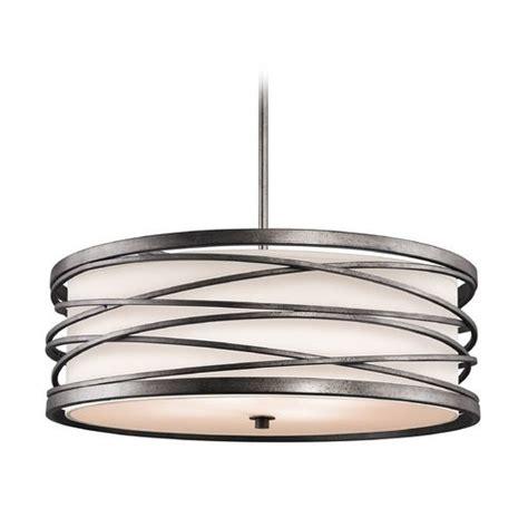 3 light pendant bronze kichler drum pendant light with white glass in warm bronze