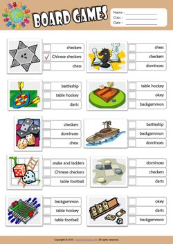 board games esl printable worksheets  kids