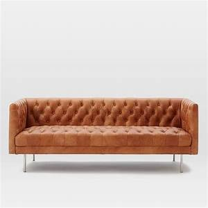modern chesterfield leather sofa west elm With chesterfield leather sofa