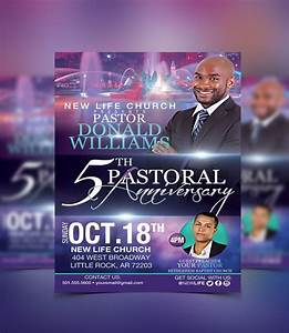Church Bulletin Design Inspiration Pastoral Anniversary Flyer Template Flyerthemes Pastor