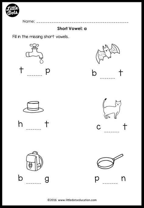 short vowels middle sounds worksheets  activities