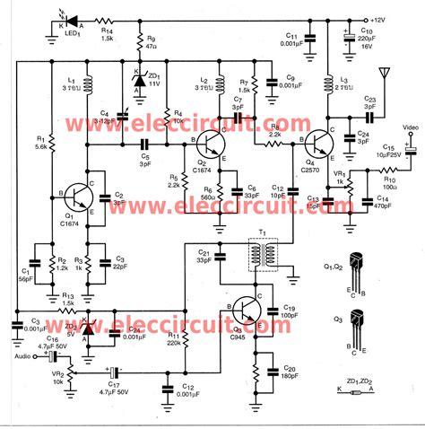 Wireles Signal Diagram by Diy Wireless Audio Sender Circuit Eleccircuit