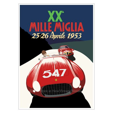 ferrari mille miglia poster  vintage posters