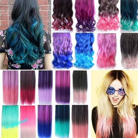 1824 New Rainbow Fading Color Hair Extensions Curly