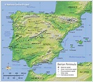 Topographic Map of the Iberian Peninsula - Nations Online ...