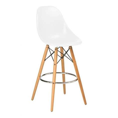 chaise bistrot blanche chaise haute de bar design blanche pied en bois et assise abs achat vente tabouret de bar