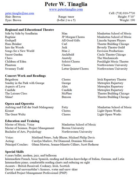 16 musical theatre resume template view sle