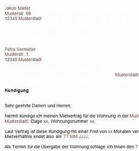 Kündigung Mietvertrag Vorlage : kundigung vorlage wohnung ~ Markanthonyermac.com Haus und Dekorationen
