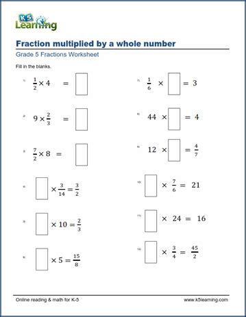 worksheets multiplying fractions by whole numbers missing factors k5 learning