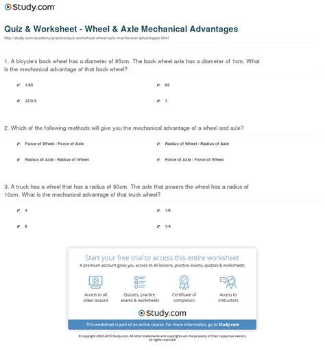 Quiz & Worksheet  Wheel & Axle Mechanical Advantages Studycom