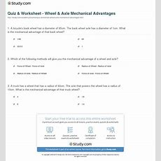 Quiz & Worksheet  Wheel & Axle Mechanical Advantages Studycom