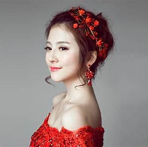 Chinese Red Bridal Hairpin Handmade Beaded Wedding Hair