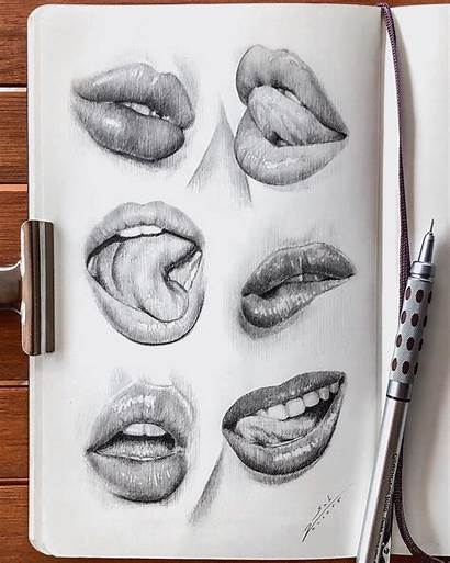 Lips Drawing Pencil Drawings Cool Realistic Sketches