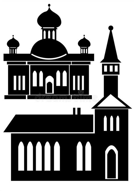 Classic House Icon Set Isolated On White Stock Vector