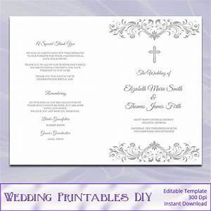 catholic wedding program template diy silver gray cross With booklet wedding invitations australia