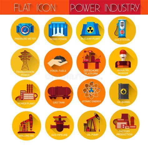 Conjunto Del Icono De La Industria De Potencia Ilustración