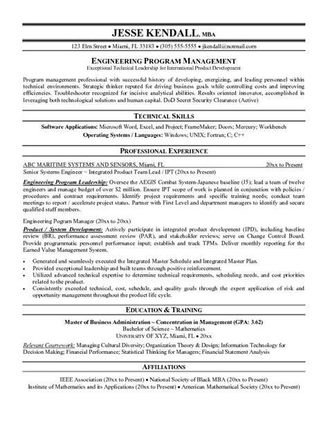 program manager resume objective resume of project manager resume template 2017
