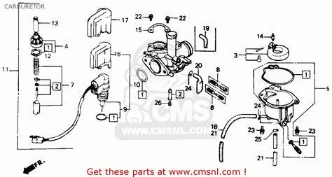 honda nb aero   usa carburetor schematic partsfiche