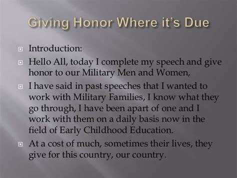 giving honor commemorative speech