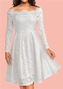Robe Mi Longue Mariage : mi longue robe en dentelle pliss col bateau l gante de soir e pour mariage blanc robe mi ~ Melissatoandfro.com Idées de Décoration