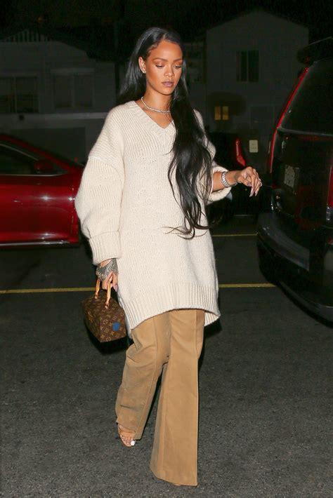 rihannas wears cozy oversize sweater  flare trousers  la instylecom