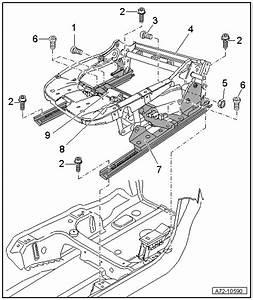 Audi Workshop Manuals  U0026gt  A4 Cabriolet Mk2  U0026gt  Body  U0026gt  General Body Repairs  Interior  U0026gt  Seat Frames