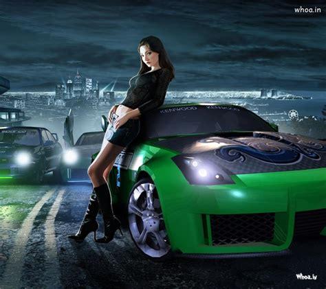 Green Spots Car With Girls Hd Wallpaper