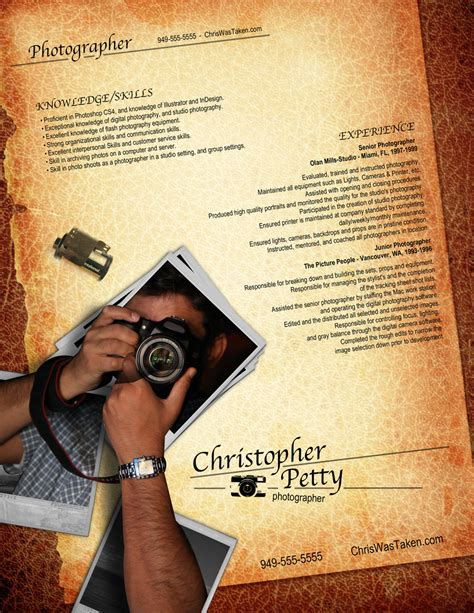 Creative Photographer Resume Templates by Resume Design For Photgraphers