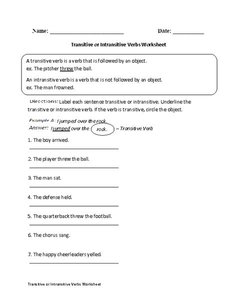 14 Best Images Of Transitive And Intransitive Verbs Worksheets  Transitive Verbs Worksheets