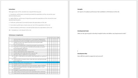 Performance Review Template Pay Compliment Exle Annual Performance Review