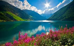 Nature, Landscape, Mountain, River, Sun, Clouds, Pink