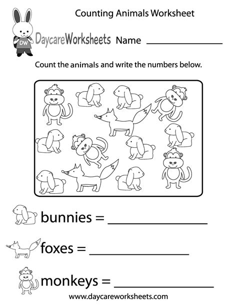 counting animals worksheet  preschool