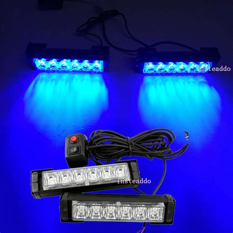 Blue Emergency Lights by Blue 2x 6 6 Quot Led Emergency Vehicle Car Strobe Flash Lights